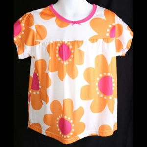 Carters Girl Orange Floral Pajama Top Only Size 5  Nwt Nwot