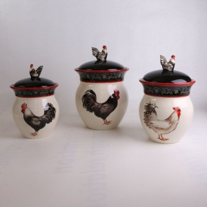 Cracker Barrel Rooster Canister 3 Piece Set
