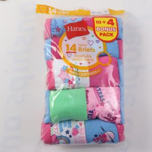 Hanes Girls Tagless Briefs Size 4 (pack Of 14)