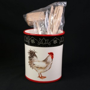 Cracker Barrel Rooster Stoneware Utensil Holder With Tools