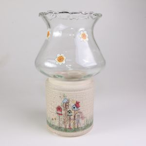 Candle Holder With Birdhouses